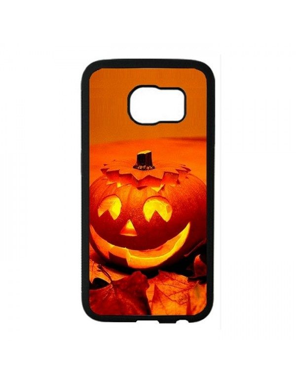 Coque rigide Samsung Galaxy S6 Edge - Halloween citrouille orange