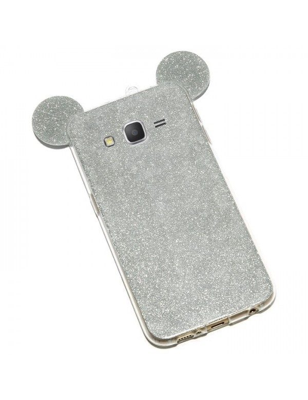Samsung Galaxy J5 2016 - Coque silicone paillette gris oreille de Mickey