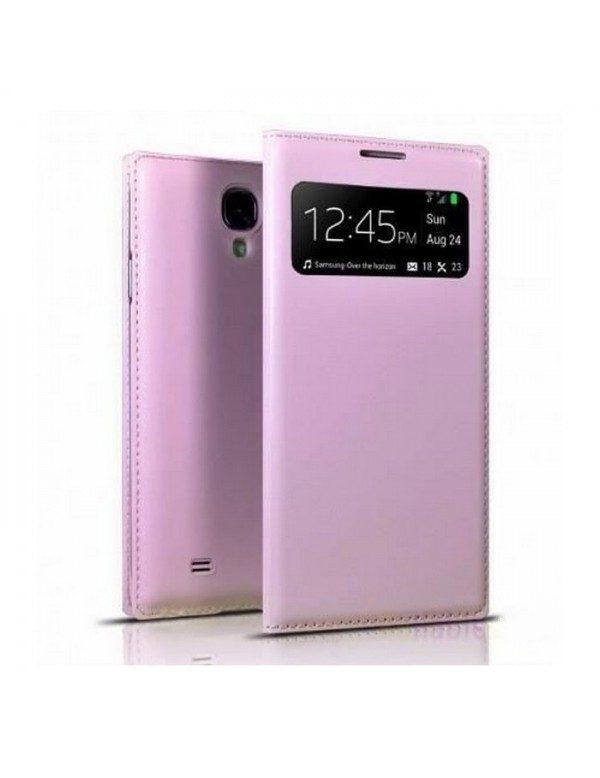 Étui portefeuille rose à fenêtre Samsung Galaxy S4