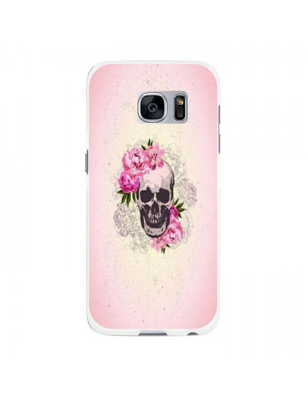 Coque rigide Samsung Galaxy S6 Edge Plus - Skull fleurie rose