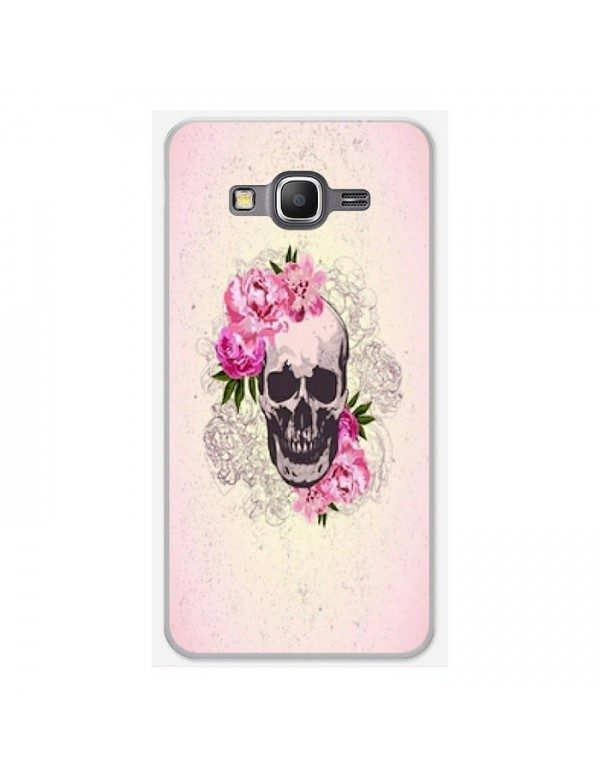Coque rigide Samsung Galaxy Grand Prime/VE - Skull fleurie rose