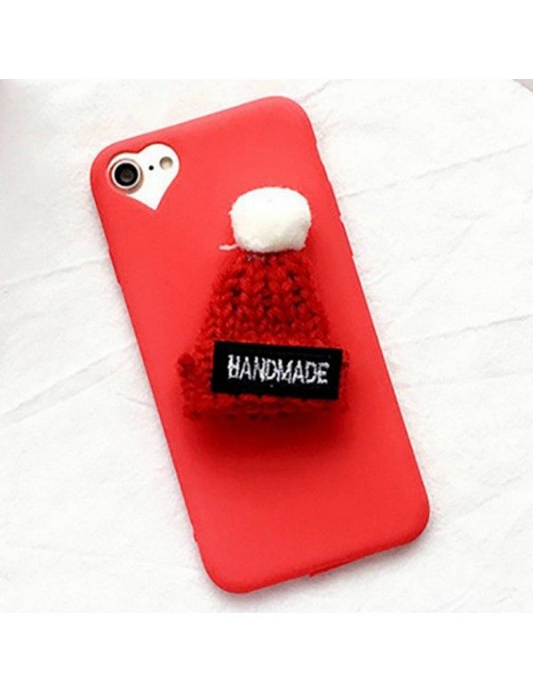 Coque souple rouge iPhone 6/6S - Bonnet et pompon en laine 3D
