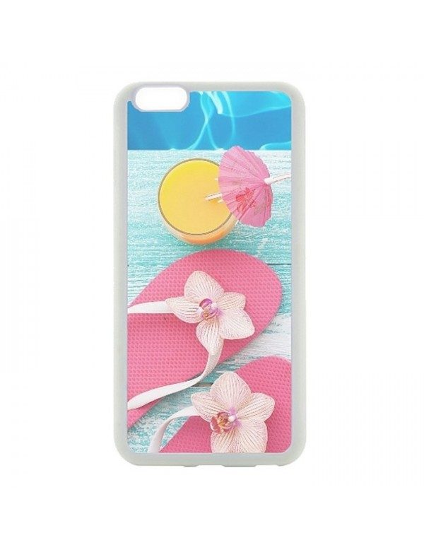 Coque rigide iPhone 6/6S - Des tongs cocktail plage
