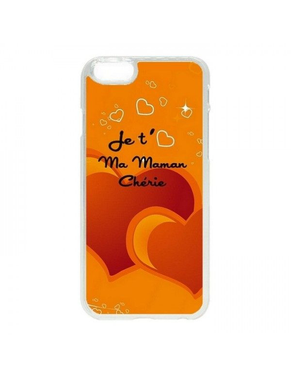 Coque iPhone 5C orange je t aime ma maman cherie