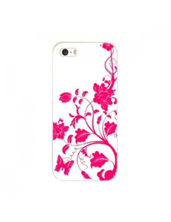 Coque iPhone 5/5S Fleurs et papillon rose