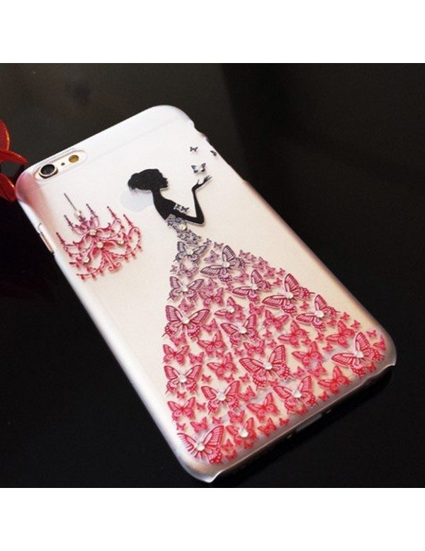 iPhone 5/5S coque rigide transparente robe diamant rouge