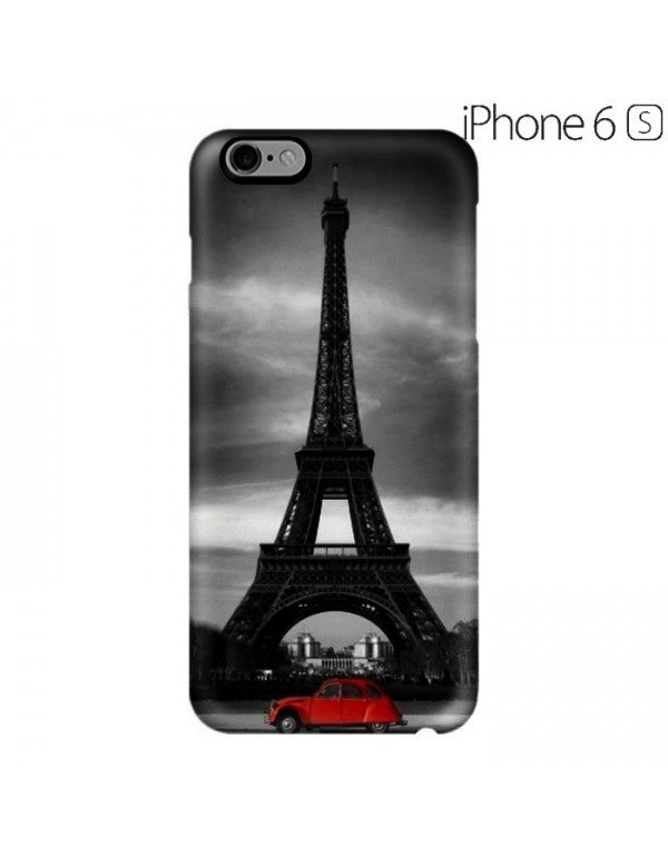 Coque rigide iPhone 6/6S - Motif Tour Eiffel 2cv rouge
