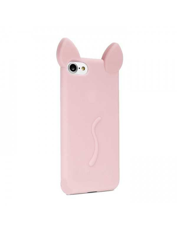 Coque silicone iPhone 7/8 - Chat rose claire Oreilles 3D