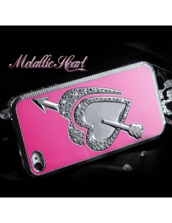 Coque rigide iPhone 4/4S Metallic coeur fleché-Rose fuschia