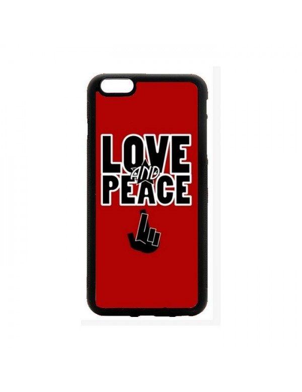 Coque rigide iPhone 4/4S - Peace & Love rouge